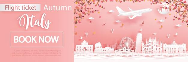 Voo e bilhete com viagens para a itália na temporada de outono