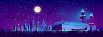 Vôos da noite do cartoon de aeroporto da cidade