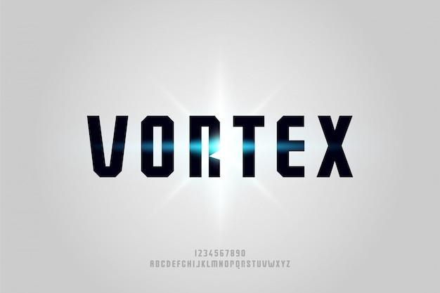 Vortex, uma fonte futurista abstrata do alfabeto com tema de tecnologia. design de tipografia minimalista moderno