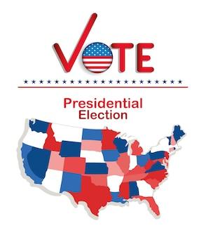 Votação da eleição presidencial com botão de bandeira de marca de seleção e desenho de mapa, governo e tema de campanha