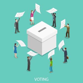 Votação de conceito isométrico plano.