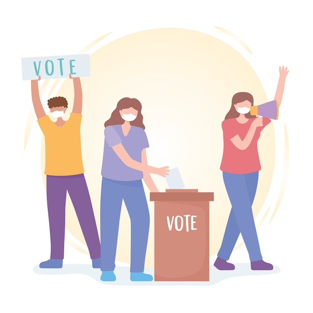 Votação e eleição, ativistas homens e mulheres pedem votos