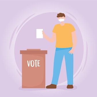 Votação e eleição, cara com cédula e urna máscara médica