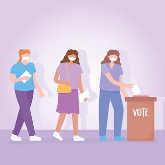 Votação e eleição, grupo de mulheres com máscara em pé na fila com o boletim de voto