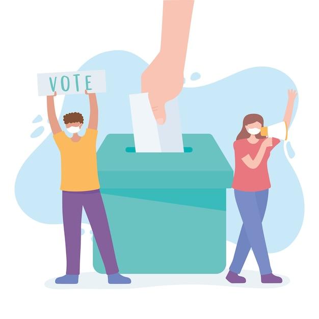 Votação e eleição, mulher com megafone, homem com papel, cédula na urna