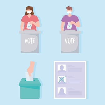 Votação e eleição, pessoas com máscara médica colocando voto, lista de candidatos e caixa com vetor de voto