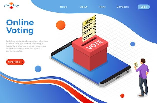 Votação eletrônica online com smartphone e urna eleitoral