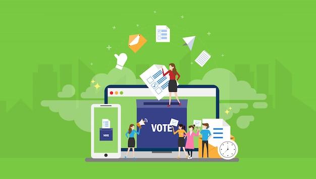 Votação on-line pessoas minúsculas personagem conceito ilustração vetorial