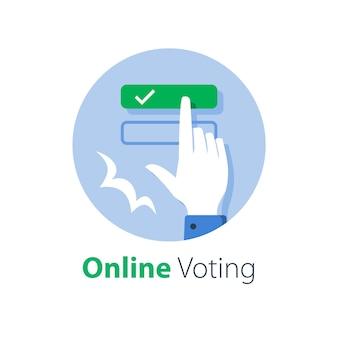 Votação online, formulário eletrônico completo, educação e exame na internet, botão de pressão com o dedo da mão, selecionar resposta, registro na web, ilustração