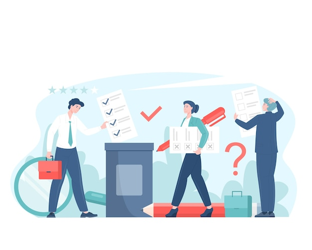 Votação ou ilustração plana do conceito de pesquisa com os eleitores tomando decisões