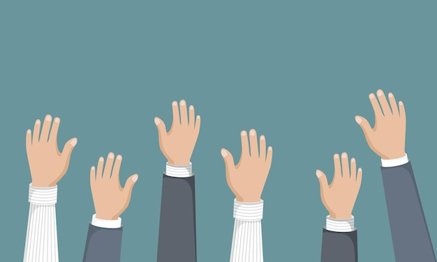 Votação ou mãos voluntárias no ar