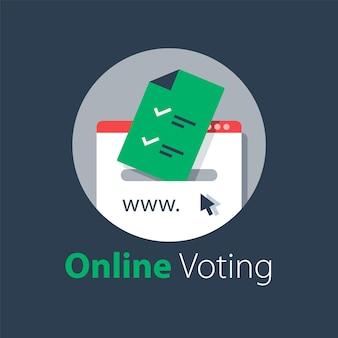 Votação pela internet, enviar online, serviços governamentais, documento com marca de seleção, fazer upload de arquivo, ilustração