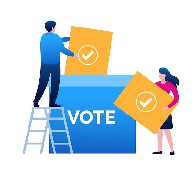 Votação, pesquisa, votação, levantamento de modelo de vetor plano de ilustração de site de página de destino on-line