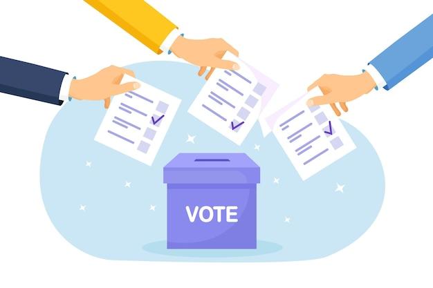 Votar nas urnas. grupo de pessoas colocando o voto de pimenta na caixa. conceito de eleição. democracia, liberdade de expressão, justiça, voto e opinião. referendo e evento de escolha de votação