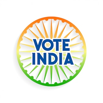 Vote india charkra em cores da bandeira indiana