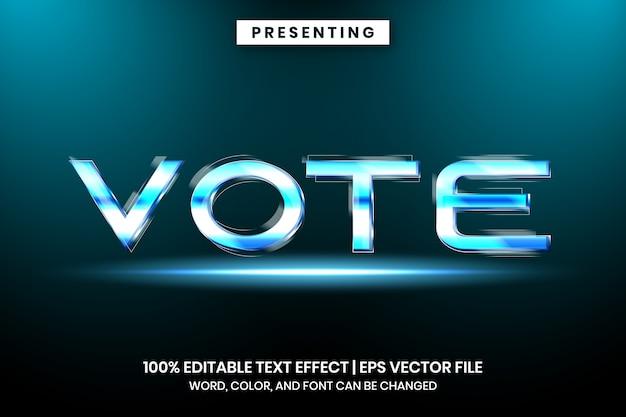 Vote no efeito de texto cinemático de metal cromado