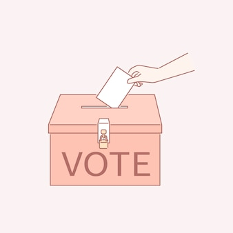 Vote o seu bilhete em uma urna em estilo de arte de linha