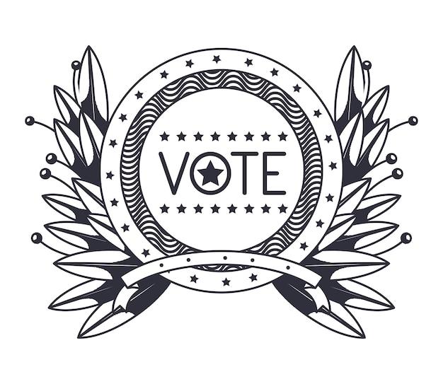 Vote seal stamp com ícone de grinalda