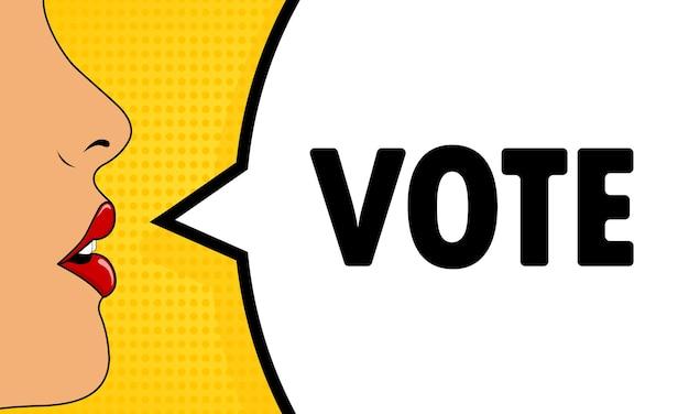 Voto. boca feminina com batom vermelho gritando. bolha do discurso com o texto vote. estilo retrô em quadrinhos. pode ser usado para negócios, marketing e publicidade. vetor eps 10.