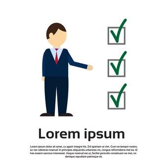 Voto de homem de negócios seleção lista papel eleição