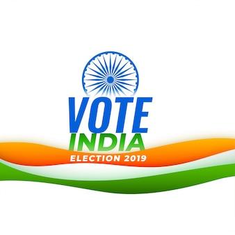 Voto fundo de eleição da índia com bandeira indiana