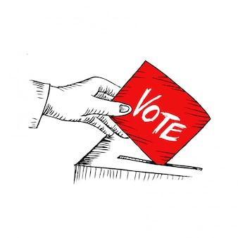 Voto. ilustração do estilo esboçado