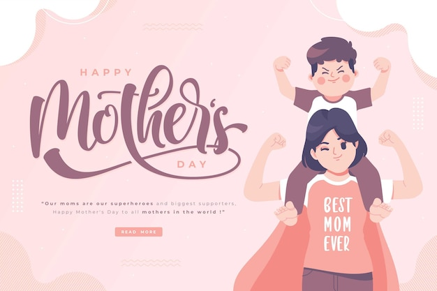 Votos de feliz dia das mães e banner de letras