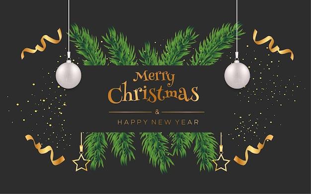 Votos de feliz natal e feliz ano novo com confetes e bolas de natal