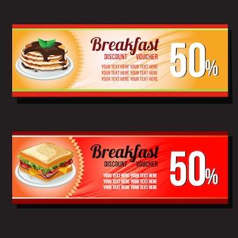 Voucher de café da manhã com sanduiche e panqueca
