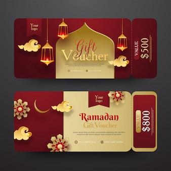 Voucher de oferta de ramadã com desconto diferente oferta e illum