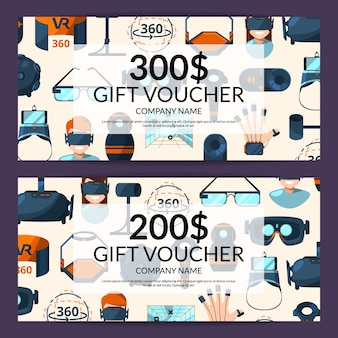 Voucher de oferta ou modelo de cartão de desconto com ilustração de elementos de realidade virtual de estilo simples