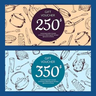 Voucher de oferta ou modelo de cartão de desconto com utensílios de cozinha mão desenhada