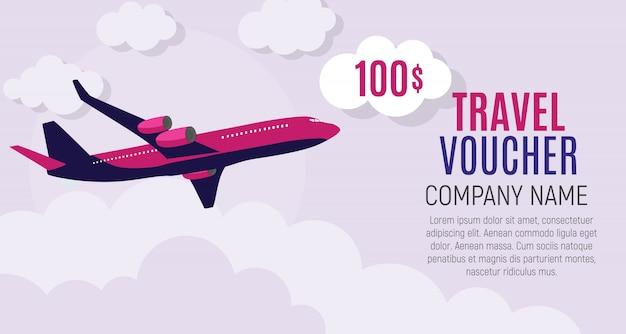 Voucher de viagem modelo de 100 dólares com avião