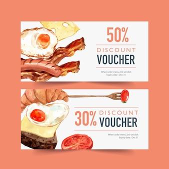 Voucher do dia mundial da comida com ovo frito, croissant, salsicha, ilustração em aquarela de bacon.