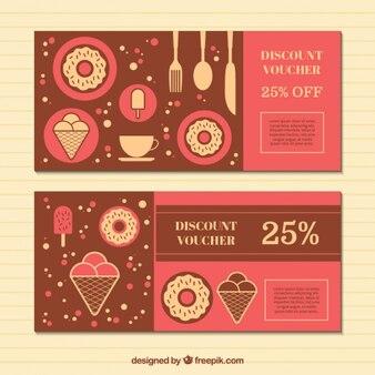 Vouchers de desconto com doces em design plano