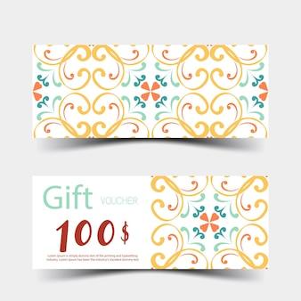 Vouchers de presente com design colorido em fundo branco