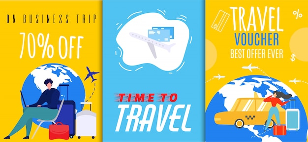 Vouchers de viagem e conjunto de panfleto de vendas de viagem de negócios