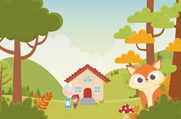 Vovó chapeuzinho vermelho próxima casa e lobo na floresta cartoon ilustração de conto de fadas
