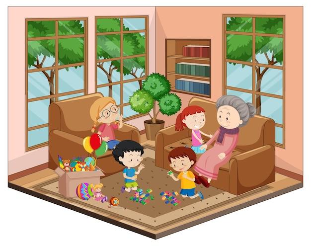 Vovó com netos na sala com móveis
