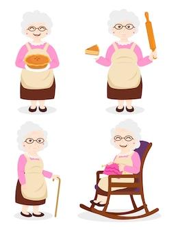Vovó cozinhando, vovó usando vestido e óculos