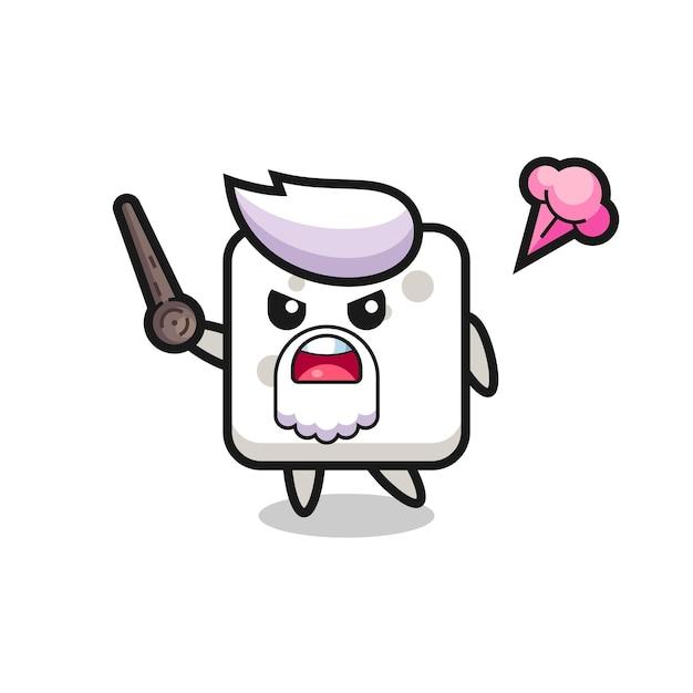 Vovô de cubo de açúcar fofo está ficando com raiva, design de estilo fofo para camiseta, adesivo, elemento de logotipo