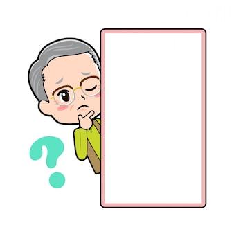 Vovô de personagem de desenho animado, pergunta de peep board