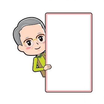 Vovô de personagem de desenho animado, sorriso de peep board