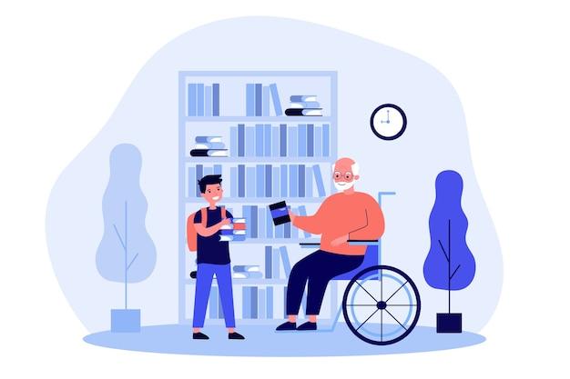 Vovô em cadeira de rodas e menino segurando livros