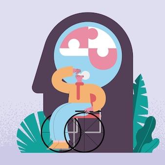 Vovó em cadeira de rodas
