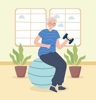 Vovó fazendo exercício