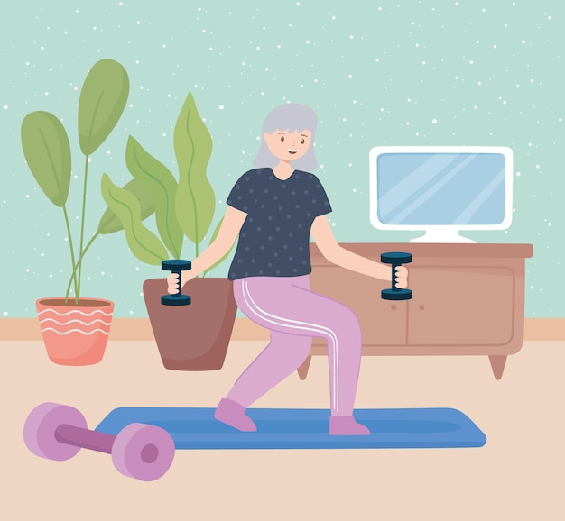 Vovó fazendo exercícios