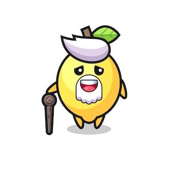 Vovô limão fofo está segurando uma vara, design de estilo fofo para camiseta, adesivo, elemento de logotipo