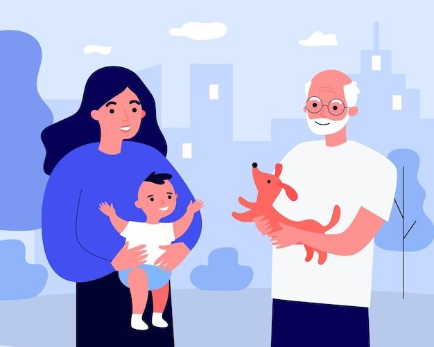 Vovô mostrando o cachorrinho para o bebê. mãe segurando a criança nos braços. ilustração vetorial plana