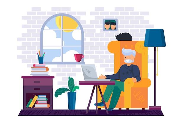 Vovô sentado na cadeira trabalhando em um laptop de gadget digital